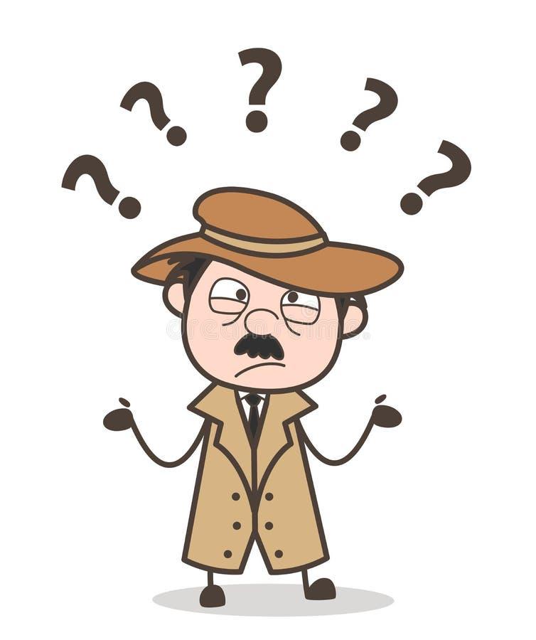 Agente investigativo confuso Vector Character del fumetto royalty illustrazione gratis