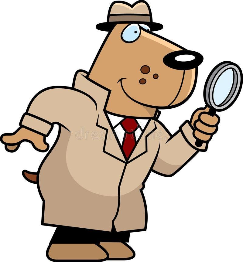 Agente investigativo del cane del fumetto illustrazione vettoriale