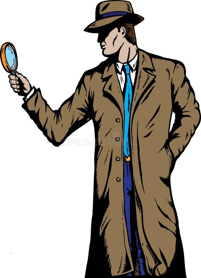 Agente investigativo di vecchio stile illustrazione vettoriale