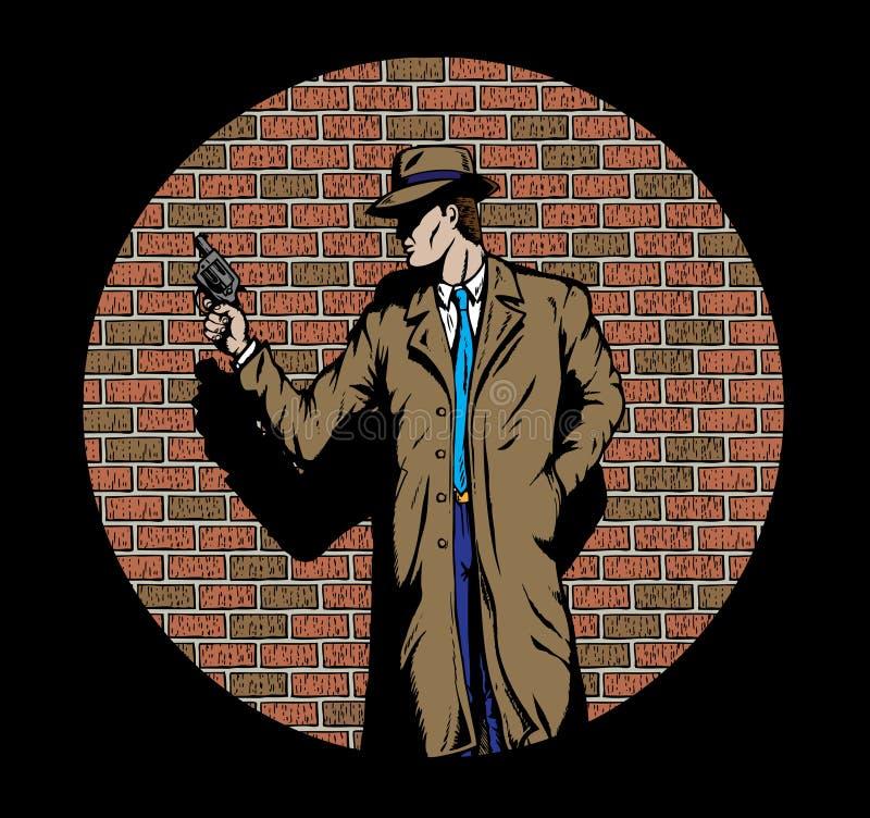 Agente investigativo di vecchio stile, quali a partire dagli anni '50. illustrazione di stock