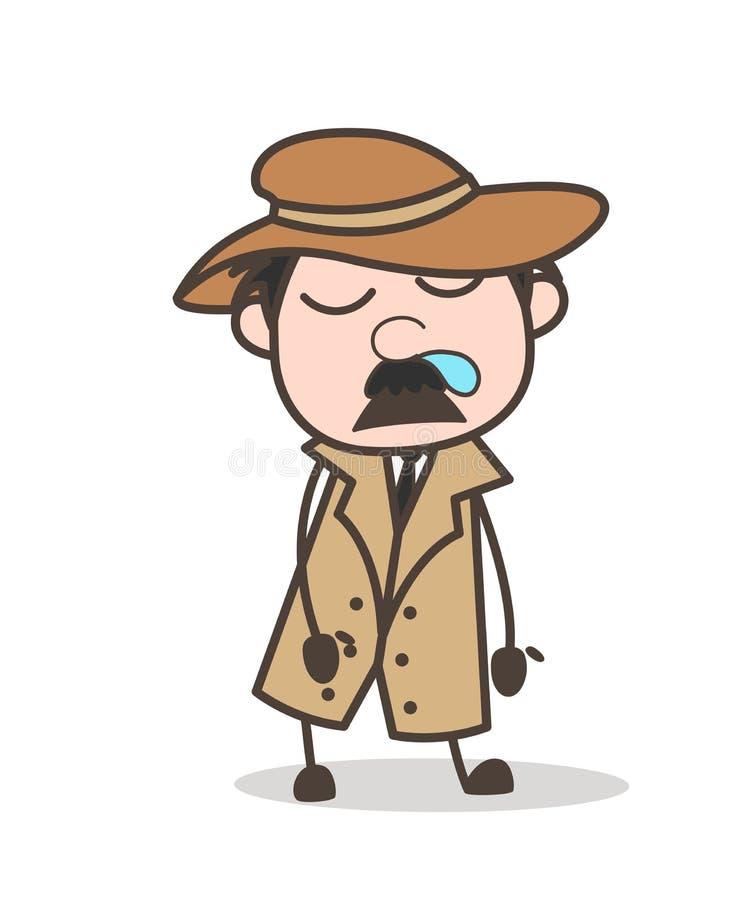 Agente investigativo divertente Running Nose del fumetto ed illustrazione di vettore del fronte di sonno illustrazione di stock