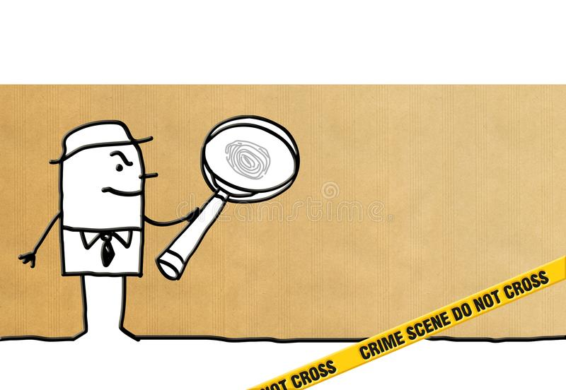 Agente investigativo e scena del crimine del fumetto royalty illustrazione gratis
