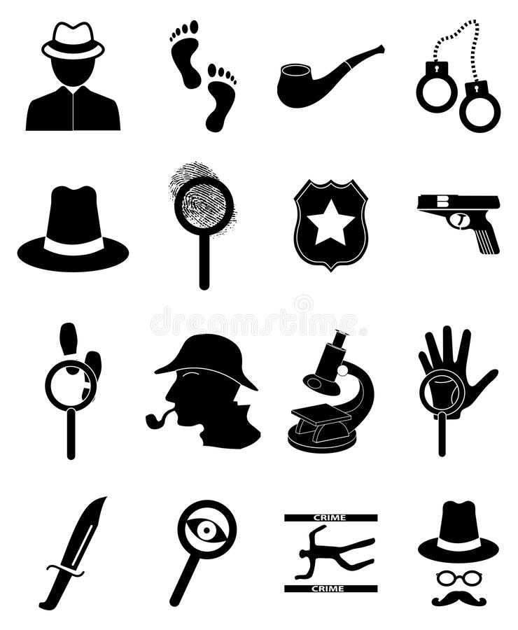 Agente investigativo Icons Set royalty illustrazione gratis