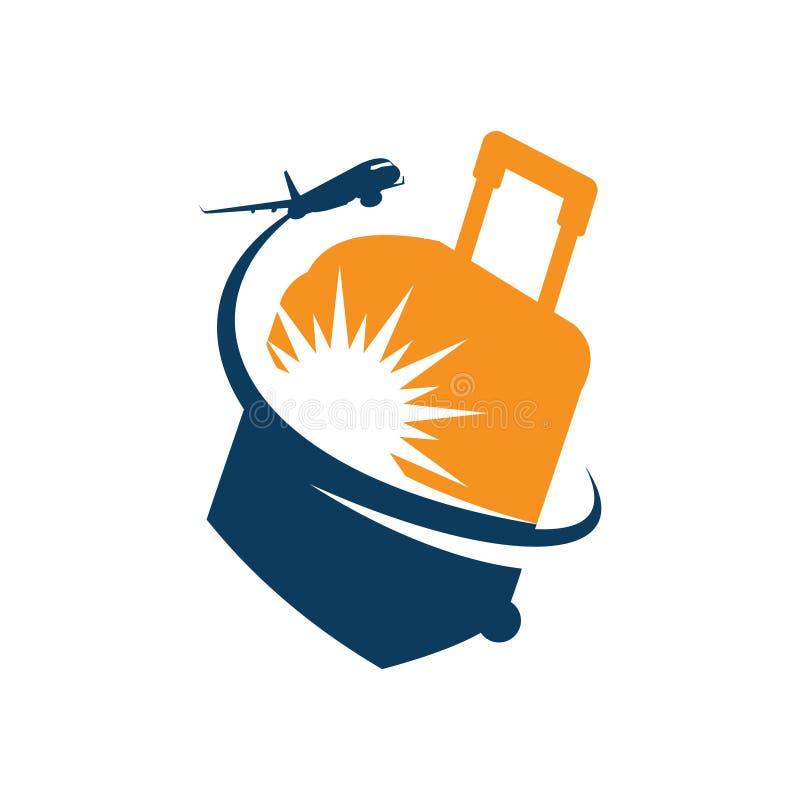 Agente Logo Template del pianificatore di volo della borsa di viaggio illustrazione di stock