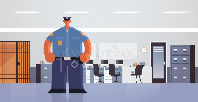 Agente in piedi pone un poliziotto in uniforme autorità di sicurezza, concetto di servizio di diritto giudiziario moderno diparti illustrazione di stock