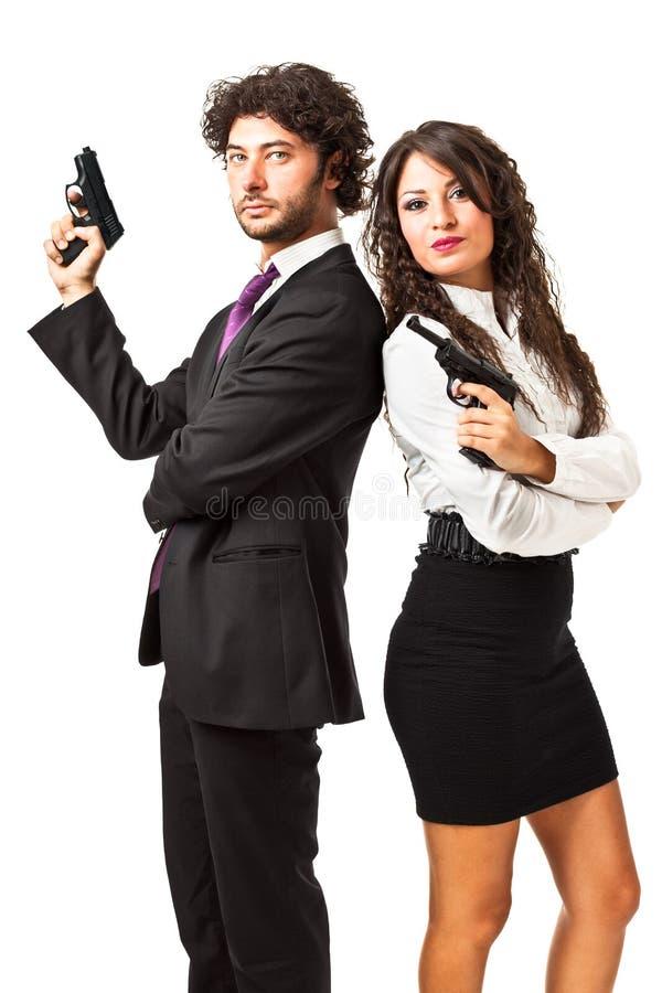Agente secreto e sua mulher fotografia de stock
