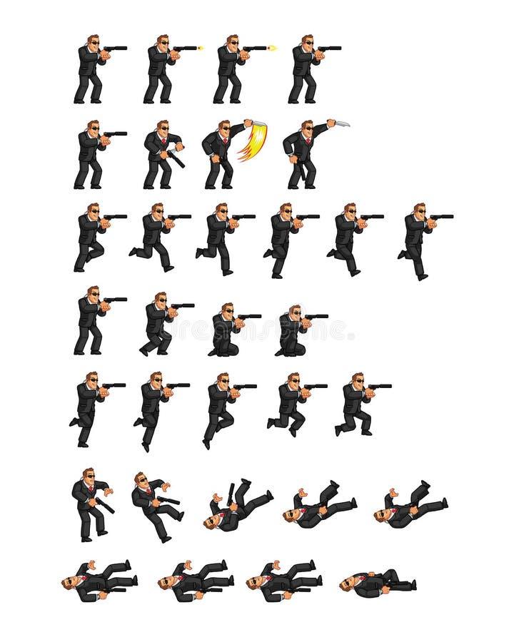 Agente secreto Game Sprite stock de ilustración