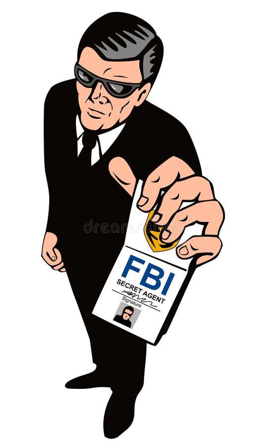 Agente secreto que mostra o emblema ilustração royalty free