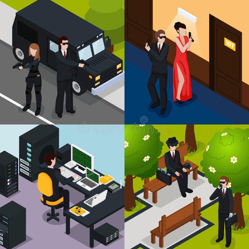 Agente speciale Isometric Concept illustrazione di stock