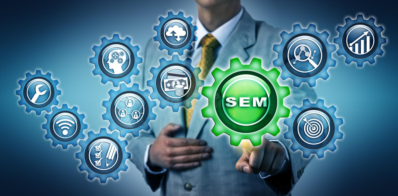 Agente Touching SEM App Button del márketing imagen de archivo libre de regalías