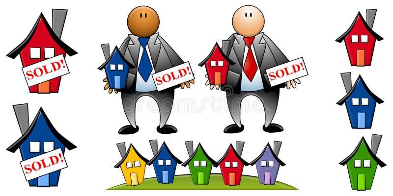 Agentes inmobiliarios con las casas ilustración del vector