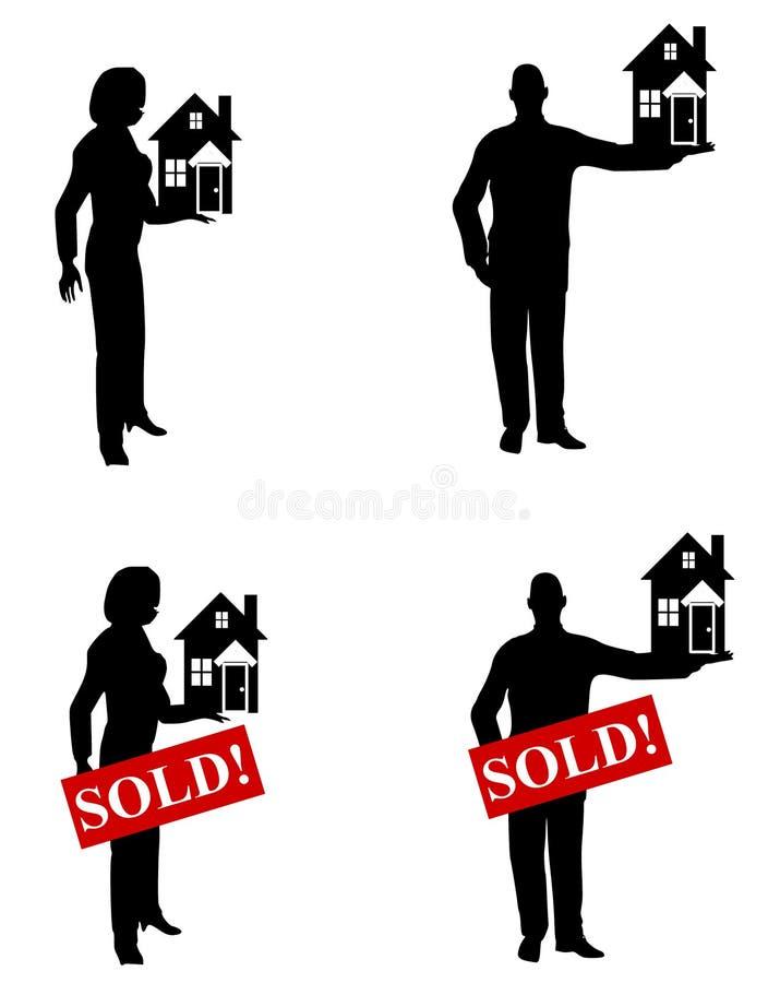 Agentes inmobiliarios que sostienen casas stock de ilustración