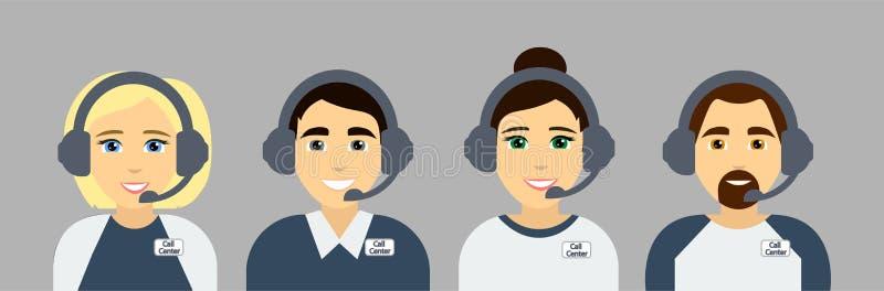 Agenti della call center Assistenti online di servizio di servizio clienti Avatar piani Illustrazione di vettore illustrazione di stock
