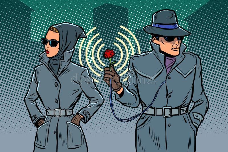 Agents secrets d'homme et de femme, espions illustration libre de droits