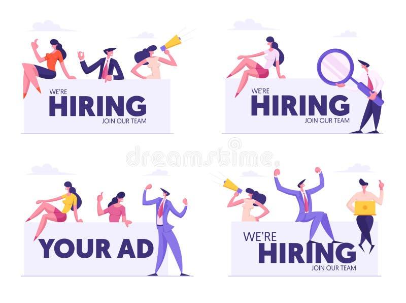 Agenzia, affare Team Searching New Candidate, risorsa umana di noleggio, la gente con il megafono, altoparlante illustrazione vettoriale