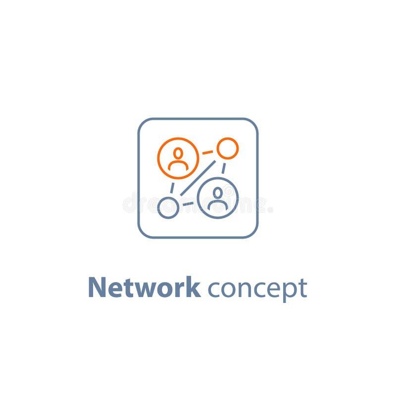 Agenzia di assunzione, pubbliche relazioni, concetto della rete, gruppo di lavoro, media sociali, risorse umane, soluzione di aff royalty illustrazione gratis