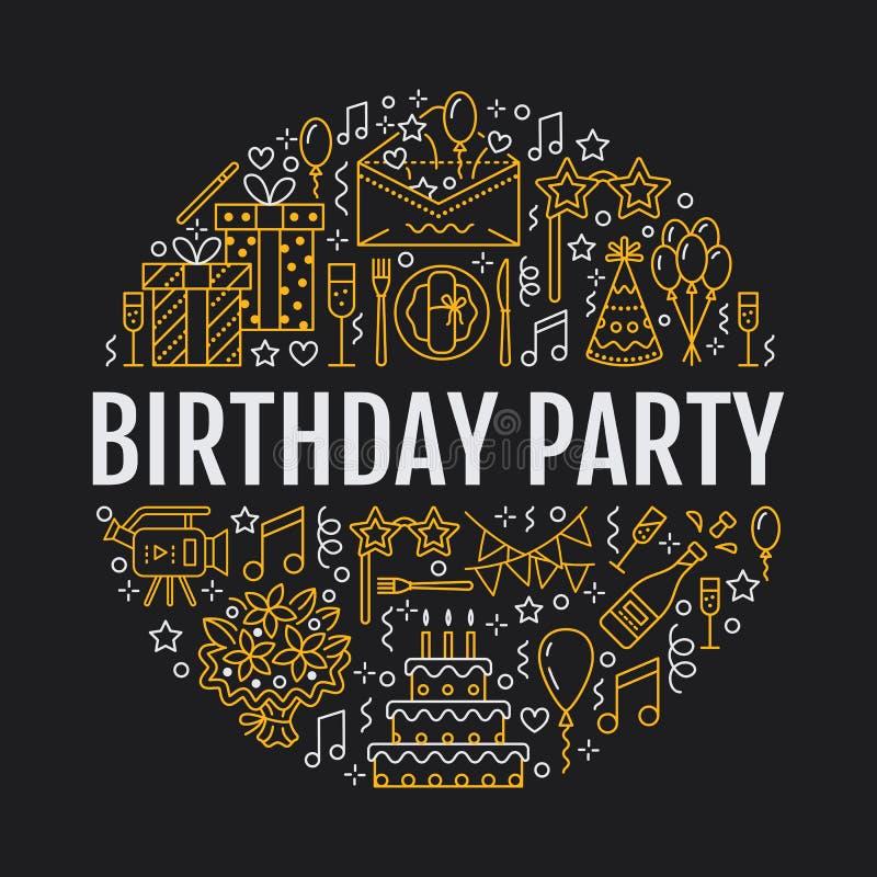 Agenzia di evento, insegna della festa di compleanno con la linea icona di approvvigionamento, torta di compleanno, decorazione d illustrazione vettoriale
