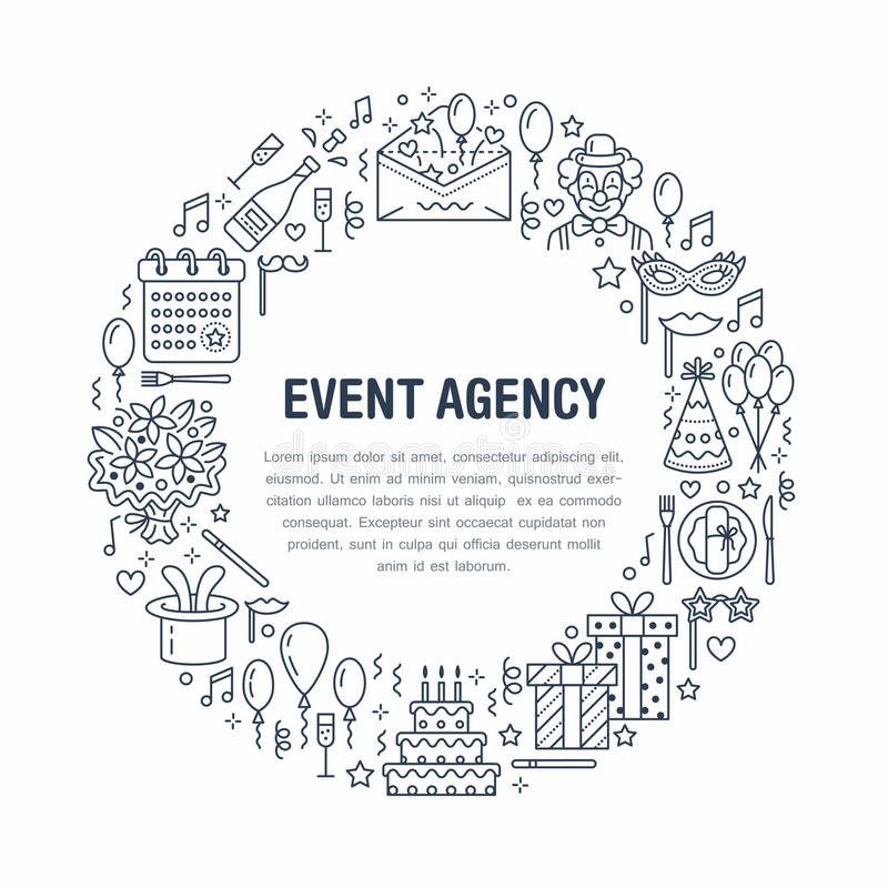 Agenzia di evento, insegna della festa di compleanno con la linea icona di approvvigionamento, torta di compleanno, decorazione d royalty illustrazione gratis