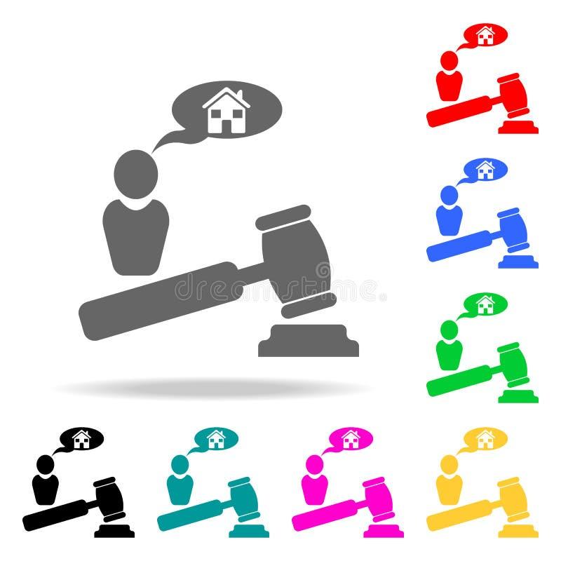 agenzia di vendita all'asta da vendere l'icona Elementi del bene immobile nelle multi icone colorate Icona premio di progettazion illustrazione vettoriale