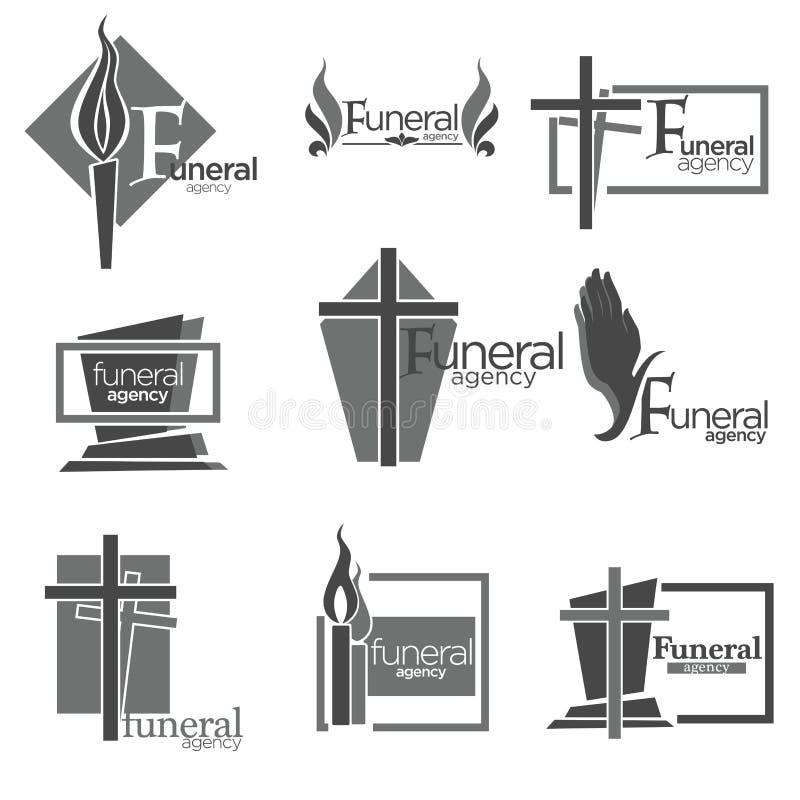 Agenzia funerea per prendere cura di tutte le preparazioni di sepoltura illustrazione di stock