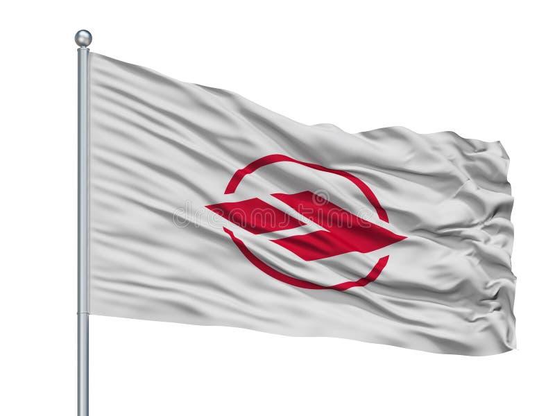 Ageo City Flag On Flagpole, Japón, prefectura de Saitama, aislada en el fondo blanco libre illustration