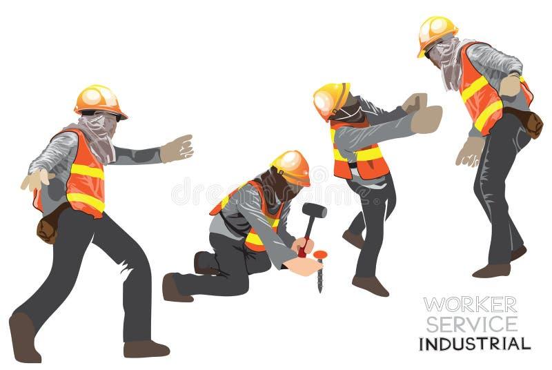 Agera för tecknad film för tecken för arbetarkonstruktionslag av väg-och vattenbyggnad 2 i 4 royaltyfri illustrationer