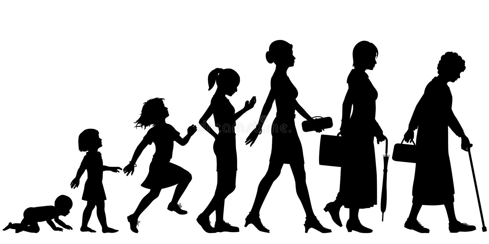 Ages of woman. Editable vector silhouettes of different stages of a womans life