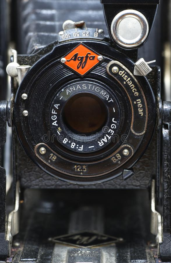 Agfa比利风箱式照相机,关闭 免版税库存图片