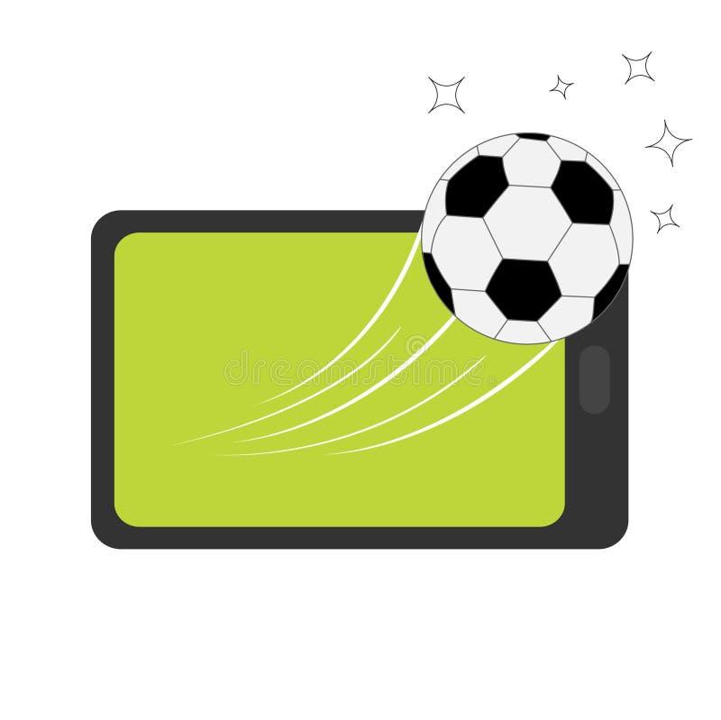 Aggeggio del PC della compressa di Genering Linguetta con lo schermo in bianco Volo del pallone da calcio dal touch screen Forma  royalty illustrazione gratis
