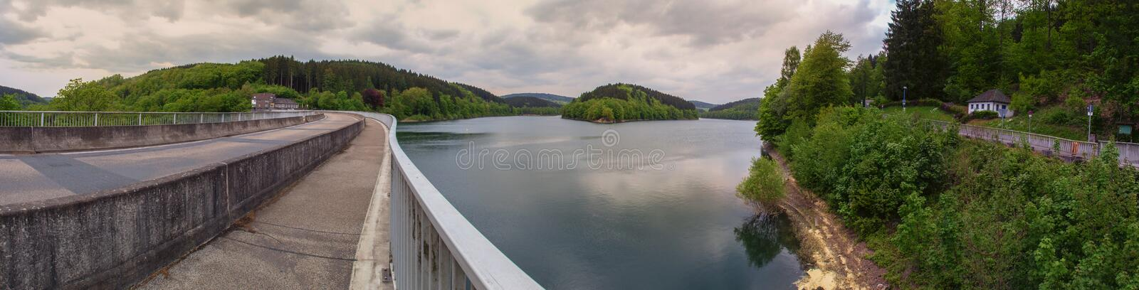 aggertalsperre dam germany high definition panorama royalty free stock photography