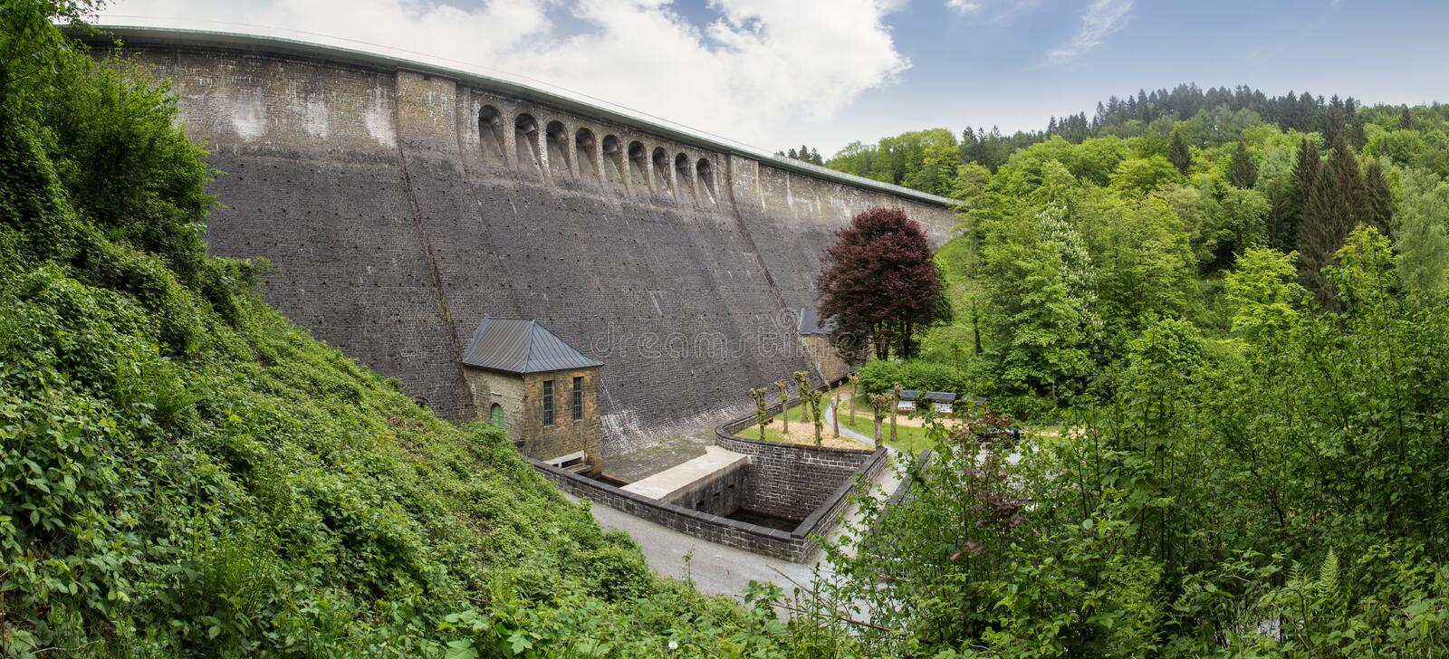 aggertalsperre dam germany high definition panorama stock photography