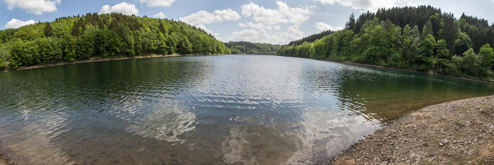 aggertalsperre lake germany high definition panorama stock images