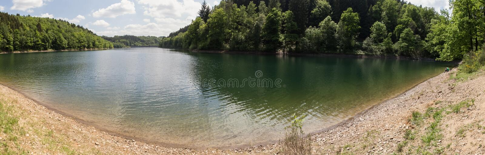 aggertalsperre lake germany high definition panorama stock photography