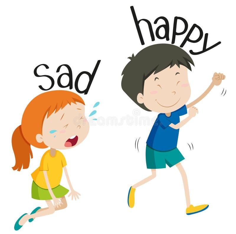 Aggettivo opposto triste e felice illustrazione vettoriale