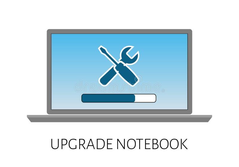 aggiornamento del computer portatile del computer con una riparazione del carico e dell'icona della striscia illustrazione vettoriale