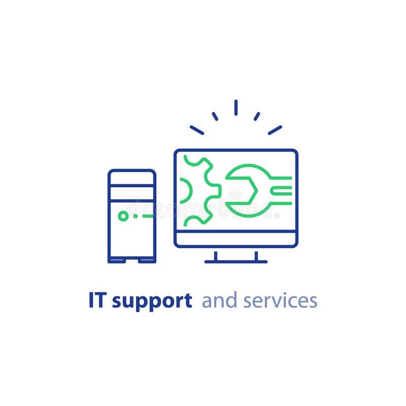 Aggiornamento del computer, aggiornamento del sistema, installazione di software, servizi di riparazione, linea icona di sostegno illustrazione vettoriale