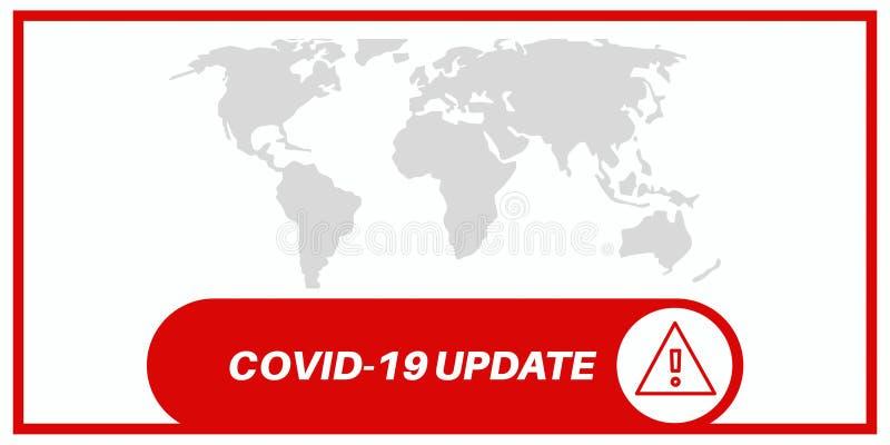 Aggiornamento del covid-19 con sfondo della mappa del mondo grigio fotografie stock libere da diritti