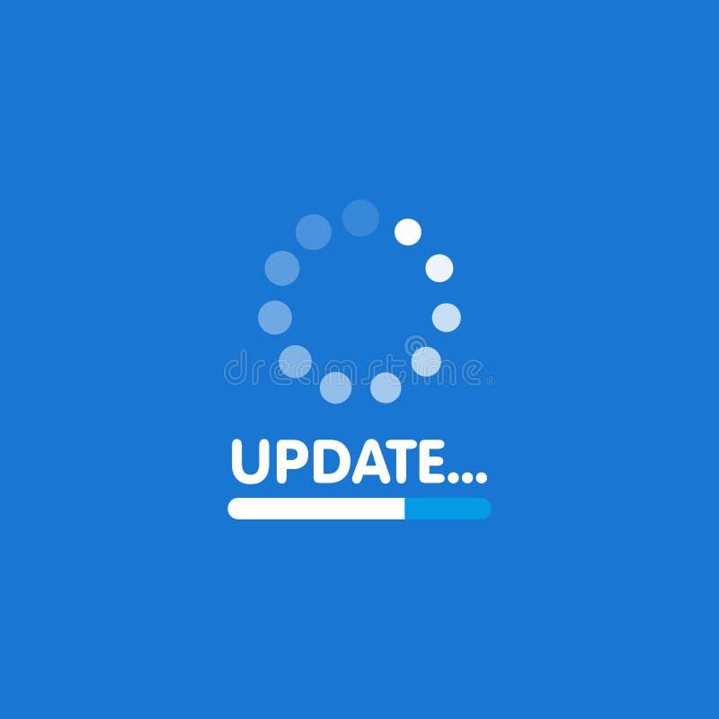 Aggiornamento di software del sistema e concetto di aggiornamento Schermo di processo di caricamento Illustrazione di vettore illustrazione vettoriale