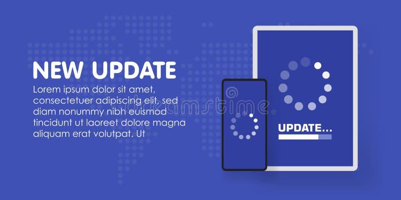 Aggiornamento di software del sistema e concetto di aggiornamento Processo di caricamento in schermo dello Smart Phone Vettore illustrazione di stock