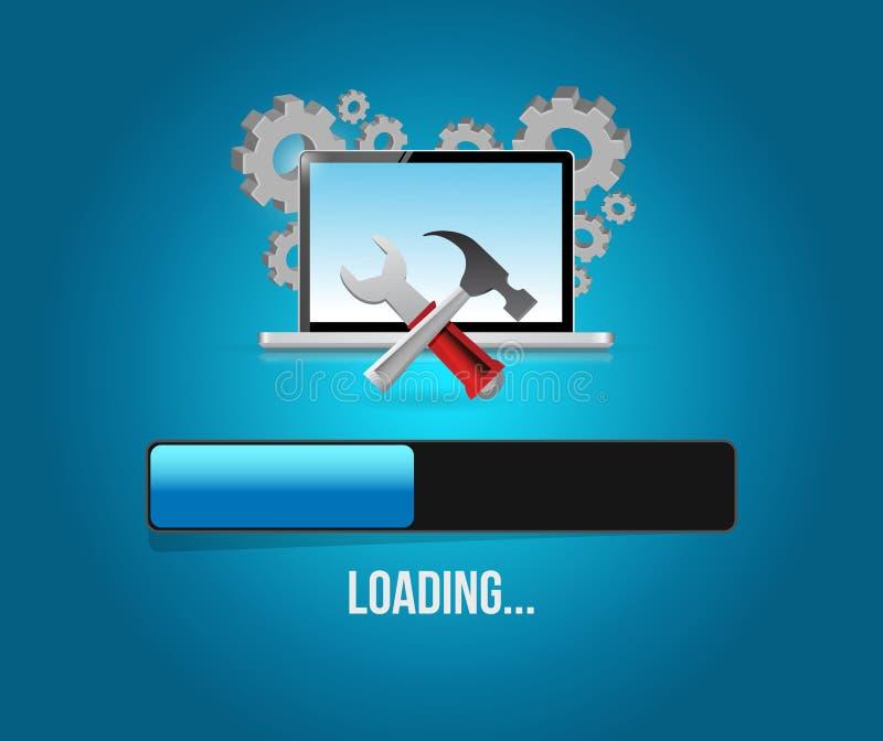 aggiornamento e strumenti del computer Barra di caricamento illustrazione di stock