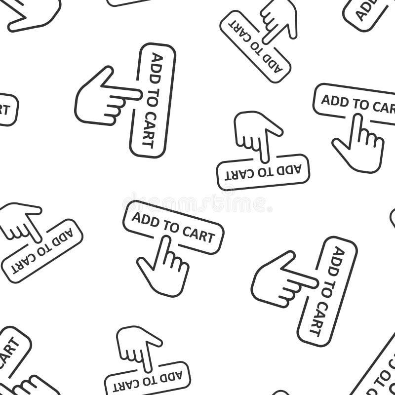 Aggiunga al fondo senza cuciture del modello dell'icona del negozio del carretto Illustrazione di vettore del cursore del dito su royalty illustrazione gratis