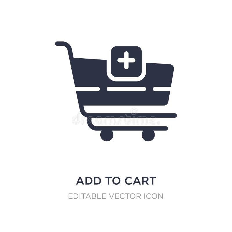 aggiunga all'icona del carretto su fondo bianco Illustrazione semplice dell'elemento dal concetto di commercio illustrazione di stock