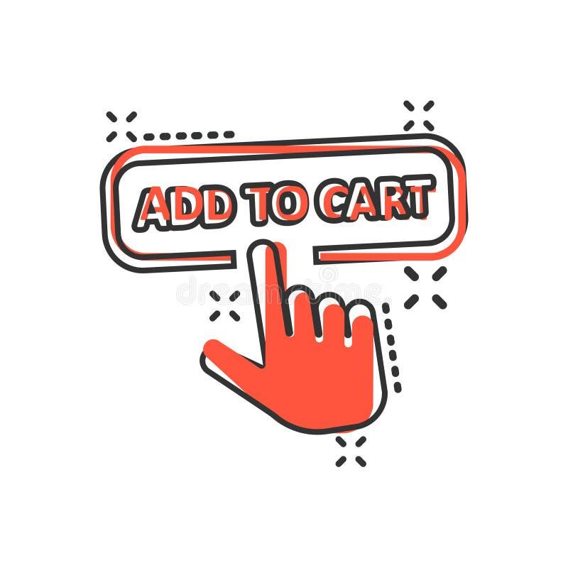 Aggiunga all'icona del negozio del carretto nello stile comico Illustrazione del fumetto di vettore del cursore del dito su fondo royalty illustrazione gratis