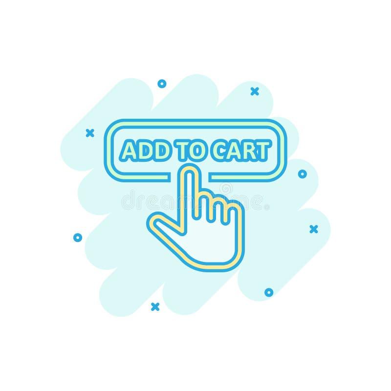 Aggiunga all'icona del negozio del carretto nello stile comico Illustrazione del fumetto di vettore del cursore del dito su fondo illustrazione vettoriale