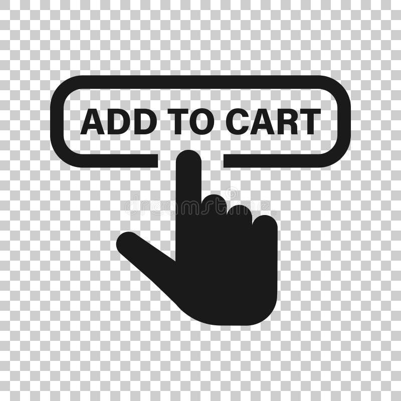 Aggiunga all'icona del negozio del carretto nello stile trasparente Illustrazione di vettore del cursore del dito su fondo isolat illustrazione vettoriale