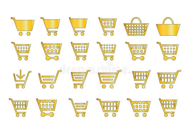 Aggiunga all'oro delle icone del carrello royalty illustrazione gratis