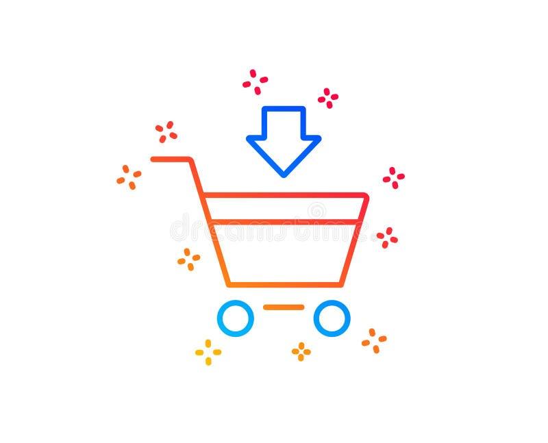 Aggiunga alla linea icona del carrello Acquisto online Vettore royalty illustrazione gratis