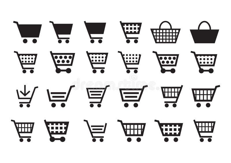 Aggiunga alle icone del carrello illustrazione di stock