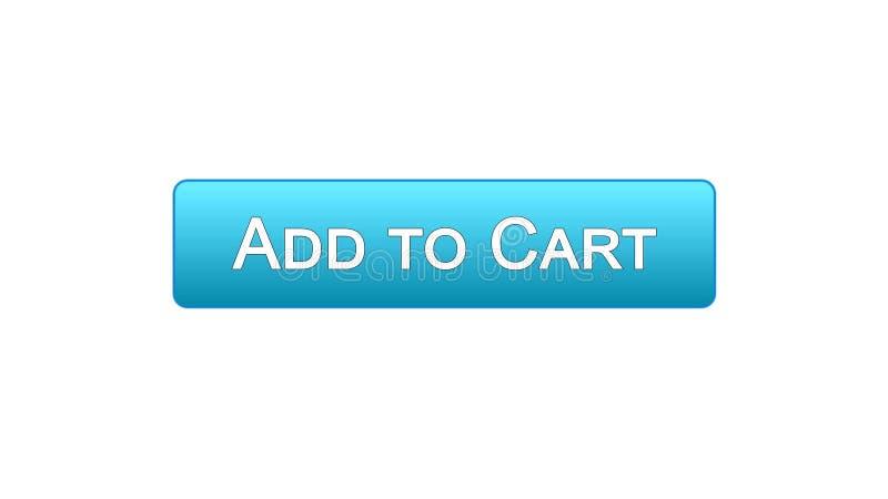 Aggiunga a colore blu del bottone dell'interfaccia di web del carretto, l'applicazione online di acquisto illustrazione di stock