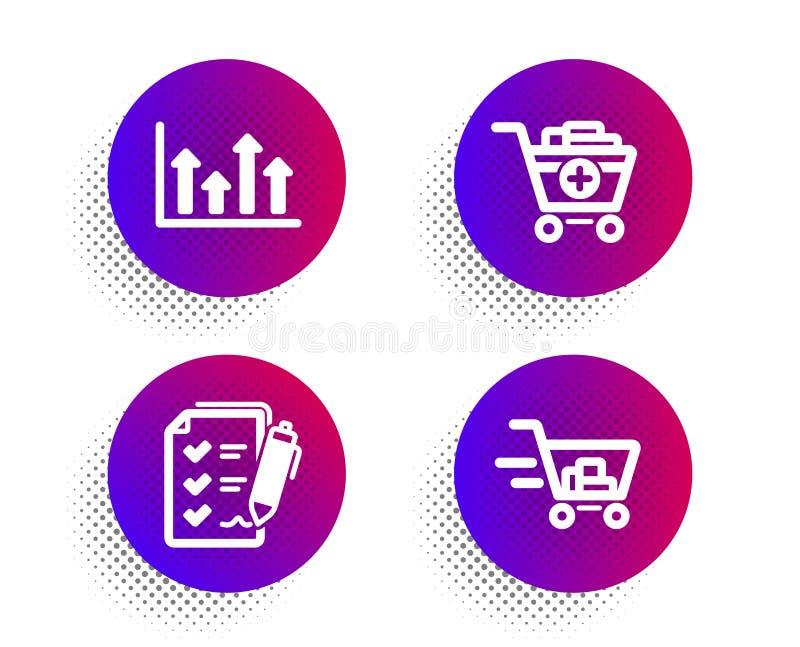 Aggiunga i prodotti, le frecce superiori ed insieme delle icone della lista di controllo di indagine Segno del carrello Vettore illustrazione vettoriale